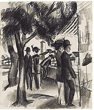August Macke, Spaziergänger unter Bäumen, 1914