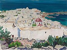 Arnold Balwé, Mykonos (mit Hafen), Circa 1961