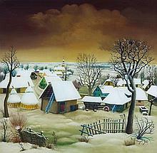 Dragan Gazi, Dorf im Schnee, Circa 1970