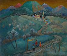 Carlo Mense, Rheinische Landschaft mit Haltestelle, 1950s/1960s