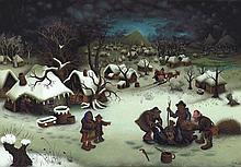 Mijo Kovacic, Winterliche Dorfszene mit erlegtem Wildschwein, 1963