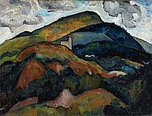 Alexander Kanoldt, Gebirgslandschaft mit Kirche in Südtirol, 1914