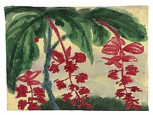EMIL NOLDE, Hängende rote Blütendolden, c. 1925