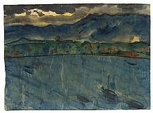 EMIL NOLDE, See mit Boot vor einer Berglandschaft, c. 1925/1930