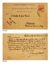 A postal card from Dr. Ferdinand Blumentritt to José Rizal  1887 December 24