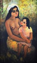 Cesar Buenaventura (1922-1983)  Mother and Child