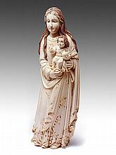 An Important and Magnificent large Ivory figure of the Virgin and Child