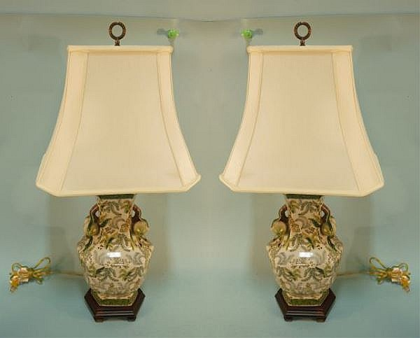 PAIR OF CHINESE STYLE PORCELAIN LAMPS