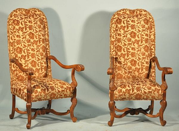 PAIR OF FRENCH WALNUT HIGHBACK ARMCHAIRS