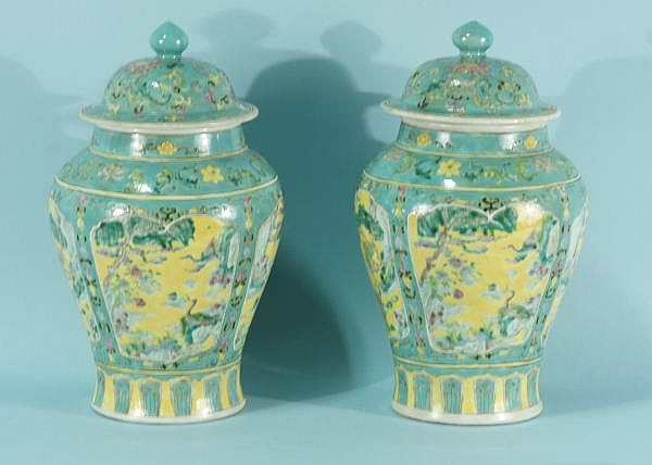PAIR OF CHINESE FAMILLE VERTE PORCELAIN JARS