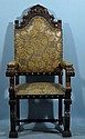 ANTIQUE ARMCHAIR WITH TOOLED LEATHER