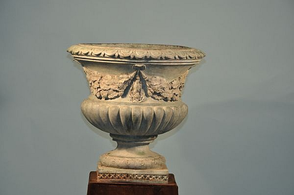 PATINAED BRONZE NEOCLASSICAL PLANTER URN