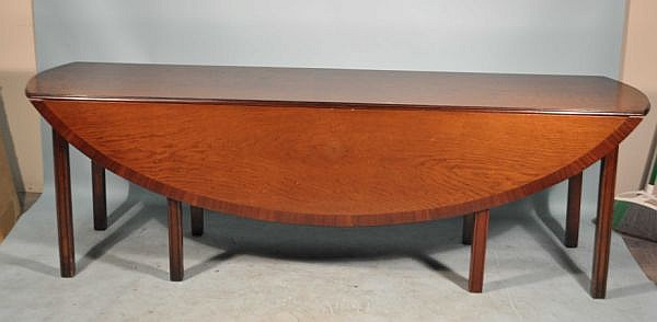 OAK GATELEG TABLE WITH MAHOGANY BANDING