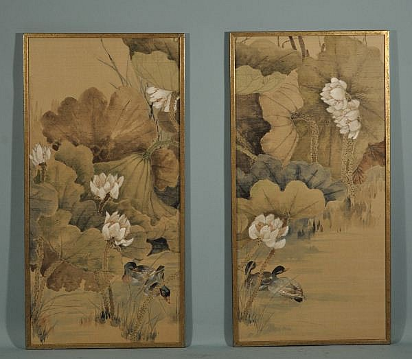 TWO CHINESE SILKSCREEN PAINTINGS