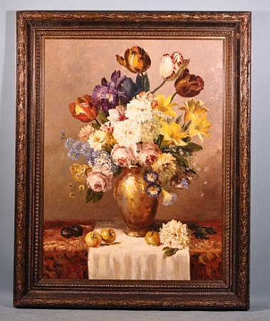 FLORAL OIL ON CANVAS STILL LIFE