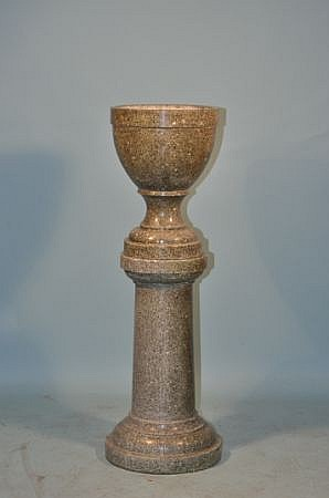 TWO-PIECE COMPOSITE MARBLE PLANTER URN ON PEDESTAL