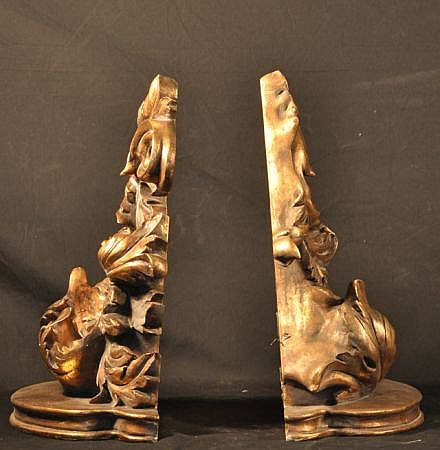 PAIR OF CAST GILDED CAST WALL BRACKETS