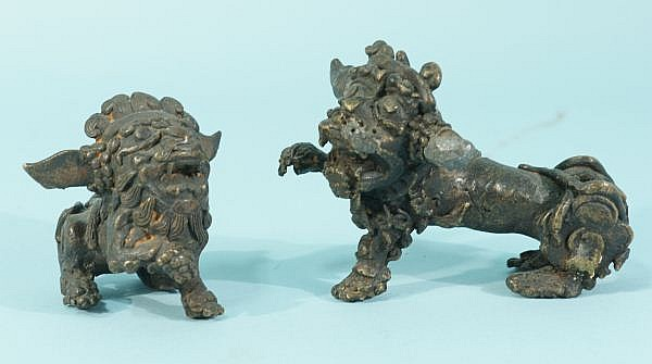 PAIR ANTIQUE BRONZE FOO LIONS