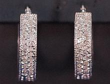 PAIR OF STERLING PAVE DIAMOND COCKTAIL EARRINGS