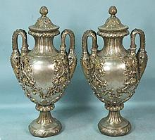 PAIR OF SILVERED BRONZE LIDDED URNS