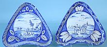 TWO 18th C.  BLUE AND WHITE FAIENCE FOOTED DISHES