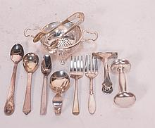 MIXED LOT OF 11 STERLING SILVER SERVING PIECES