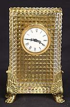 CUT CRYSTAL AND GILT MOUNTED CLOCK