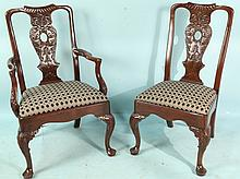 SET OF SIX HENREDON QUEEN ANNE STYLE DINING CHAIRS