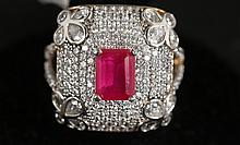 SIMULATED RUBY & DIAMOND GOLD RING