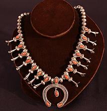 VINTAGE NATIVE AMERICAN S. S. AND CORAL NECKLACE