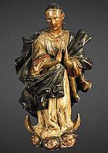 17th CENTURY SPANISH COLONIAL MADONNA FIGURE