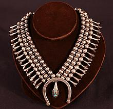 VINTAGE NATIVE AMERICAN S.S. NECKLACE TURQUOISE PE