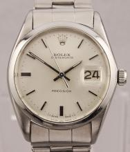Vintage Rolex Oyster Date Precision Manual Wind Stainless Steel Watch