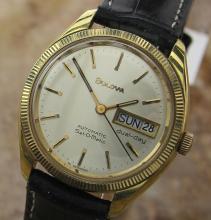 Vintage Mens German Bulova Set-o-matic Automatic Daydate Gold Plate