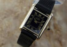 Vintage Ladies Swiss Must De Cartier Tank 18k Gold Plated Mechanical