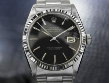 Mens Swiss Vintage Rolex Datejust 1601, 18k White Gold Bezel