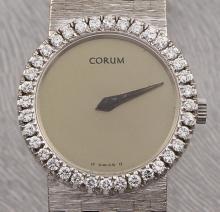 Vintage Corum Round Gold Manual Wind 18k Solid White Gold & Diamonds