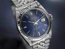 Vintage Mens Swiss Rolex Oyster Datejust 1601 Blue Dial 18k W Gold Bezel