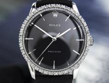 Mens Vintage Swiss Rolex Oyster Precision Diamond Set Dress