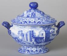 English Staffordshire Blue and White Transferware Soup Tureen and Cover