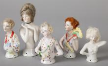 Five German Porcelain Half Dolls with Wigs