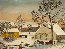 Medart, American, early 20th century, Folk art Winter scene with figures and farm animals, oil on canvas, 25 x 31 1/2 inches