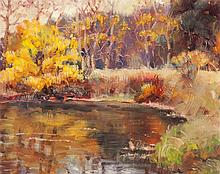 Jane Scott, American (1918-2011), Autumn landscape with foreground stream, oil on canvas,