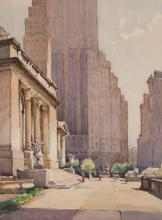 Attributed to Nicolas Markovitch, Serbian (1894-1964), New York Public Library, watercolor on paper, 15 1/2 x 11 1/2 inches
