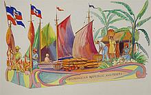 Frank Bernard Nuderscher, American (1880-1959), Two Vieled Prophet float designs: Friendly Neighbors: Dominican Republic and Haiti;...