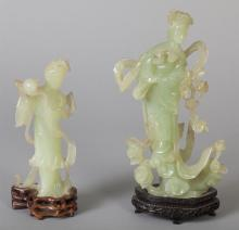 Two Carved Green Translucent Stone Female Figurines
