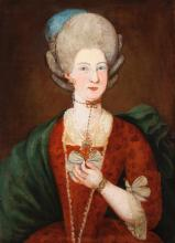 Continental School, 18th century, Waist-length portrait of a woman, oil on canvas, 30 1/2 x 22 inches