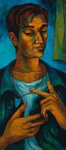 Bob Solomon, American, mid-century, Portrait of a man, 1977, oil on masonite, 40 x 18 inches