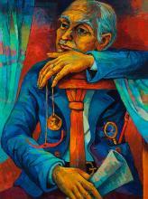Bob Solomon, American, mid-century, Portrait of a seated man with gold chain, 1974, oil on masonite, 40 x 30 inches