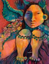 Martin Prechtel, American (20th century), Portrait of a woman, circa 1995, acrylic on canvas, 18 x 14 inches